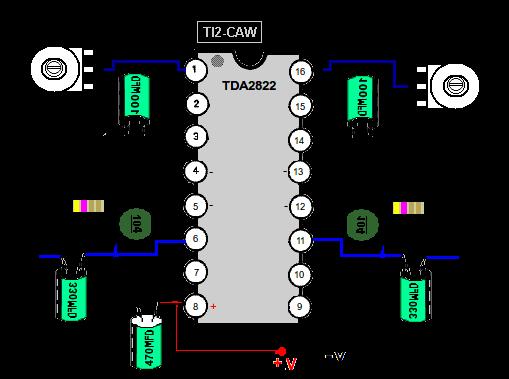 с усилителем TDA2822M.