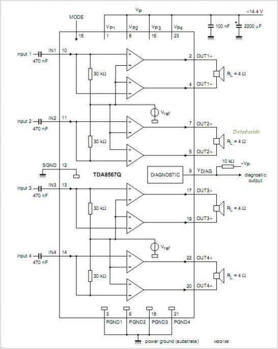 Electronic circuit diagram presented here is an audio power amplifier based on TDA8571J chip which is an integrated...