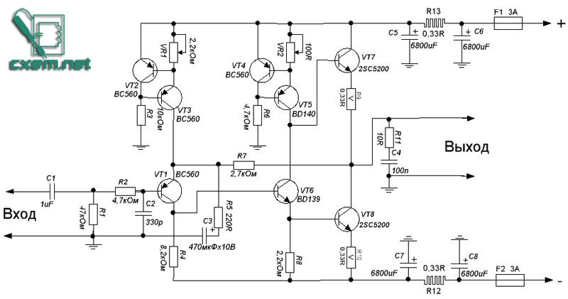 Схема усилителя tda 7265
