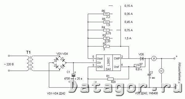 схема автомобильной зарядки для телефона - Практическая схемотехника.