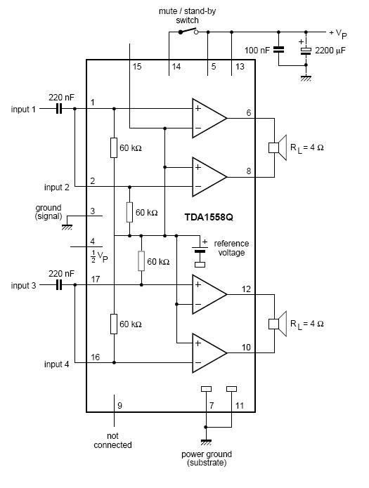 Ru. схема включения tda1558q