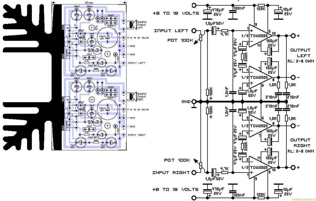 Схема усилителя на tda2005 стерео