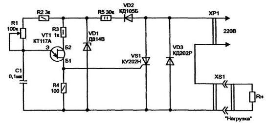 Рис. 1.5.  Печатная плата регулятора мощности для паяльника и размещение деталей на ней.