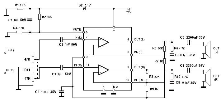 tda7265 схема включения - Всемирная схемотехника.