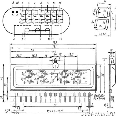 Геометрические характеристики индикатора ИВЛ1-7/5 (ИЛЦ4-5/7Л) .