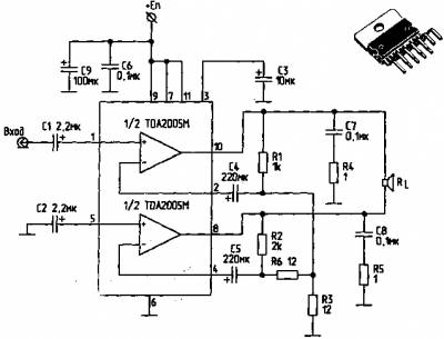 УНЧ выполнен на интегральной микросхеме TDA7294.  Эта ИМС представляет.