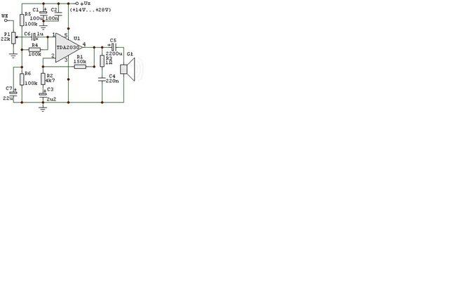 усилитель на tda2030 мостовая схема.