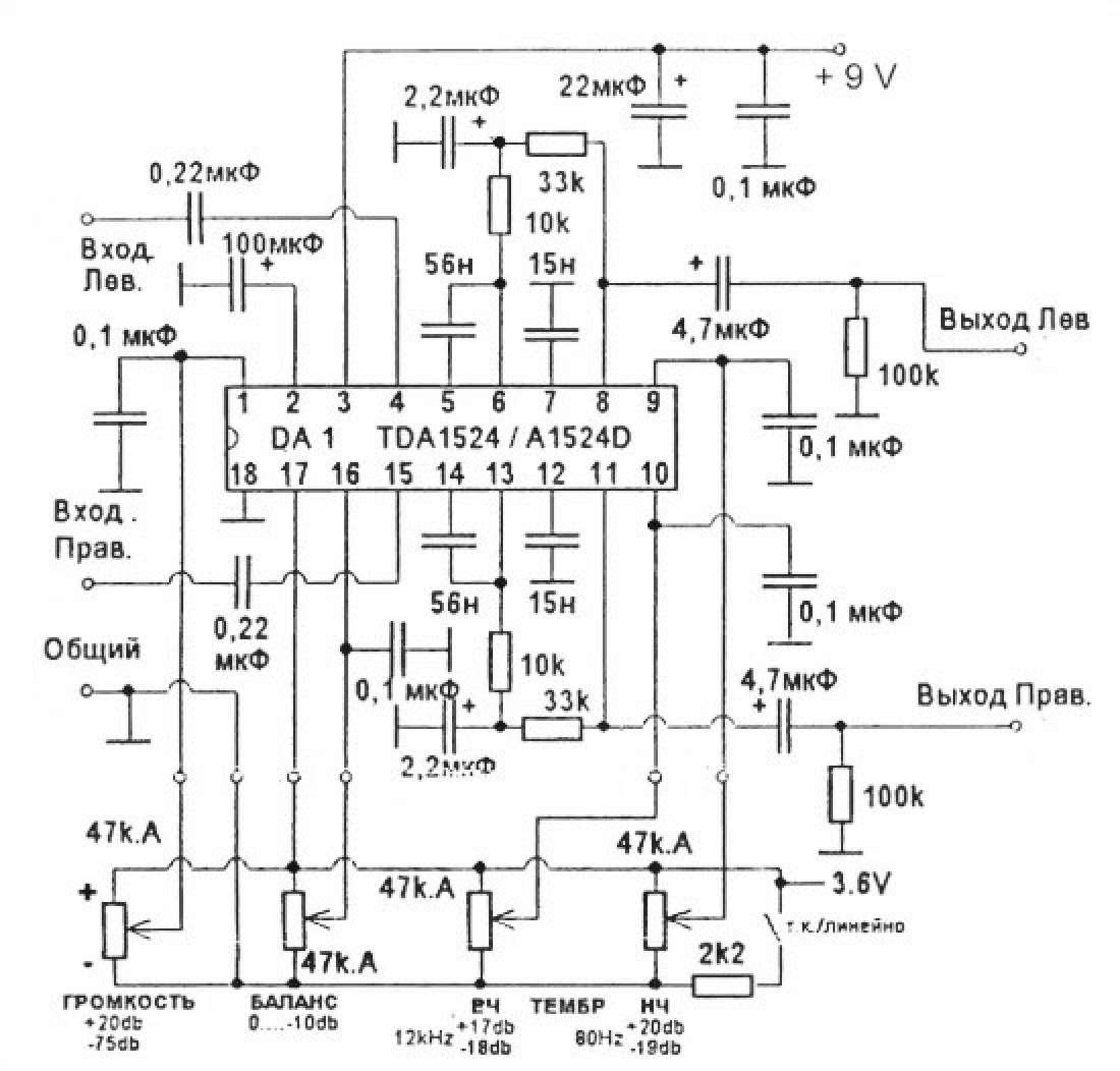 """На микросхеме TDA1524 фирмы  """"Филипс """". можно изготовить стереофонический темброблок.  При этом требуется лишь..."""