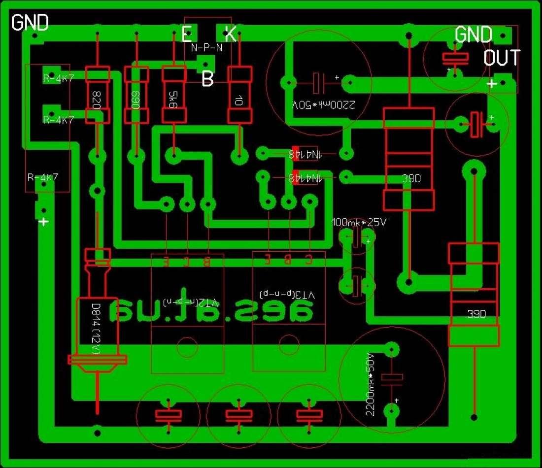 На схеме представлен регулятор по плюсу, а на печатке по минусу, если собрать две схемы по плюсу и минусу то...