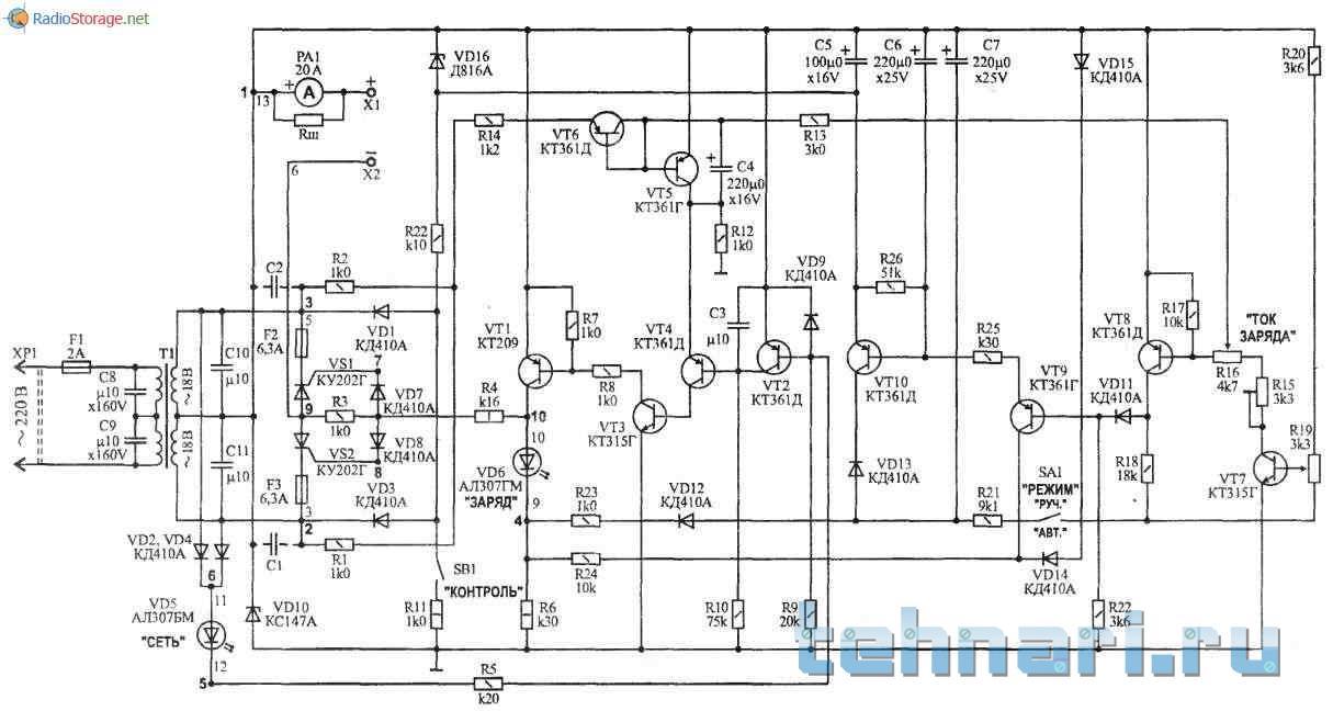 устройство зарядное уз-с-6 12 схема