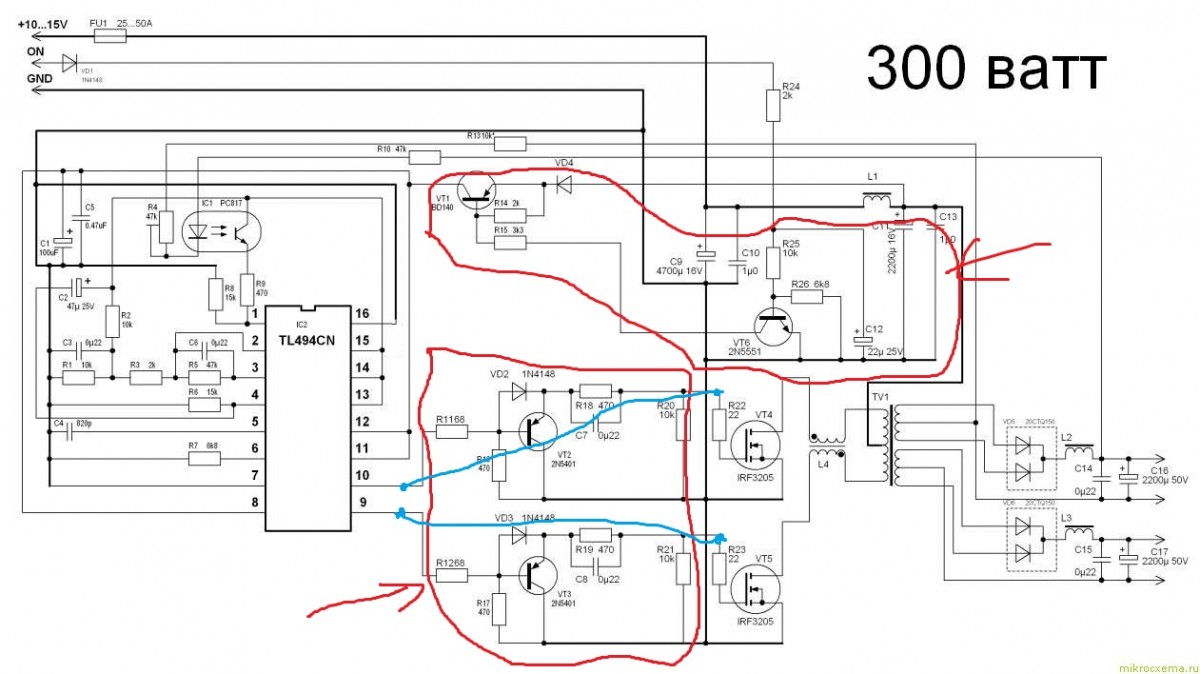 схема преобразования напряжения - Практическая схемотехника.