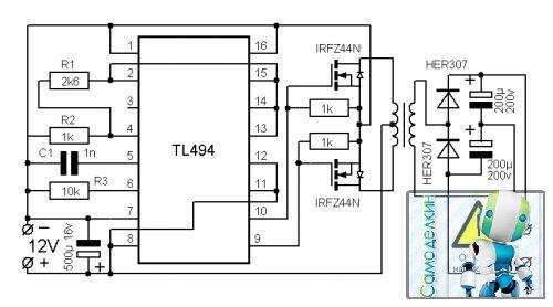 Схема преобразователя давольно простая она работает на микросхеме TL494 я нашёл её в интернете, она преобразовывала...