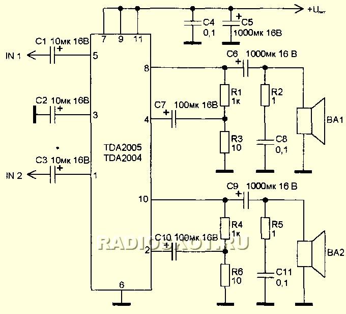 схема включения тда 2005 - Идеальная электроника.
