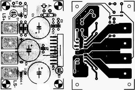 схемы печатных плат усилителей на tda 2004 мостовая схема.