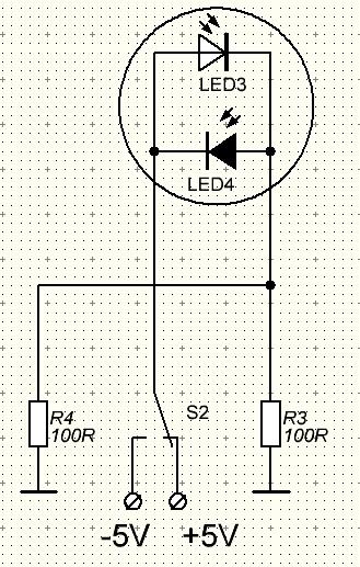 Двухцветный светодиод с двумя выводами схема
