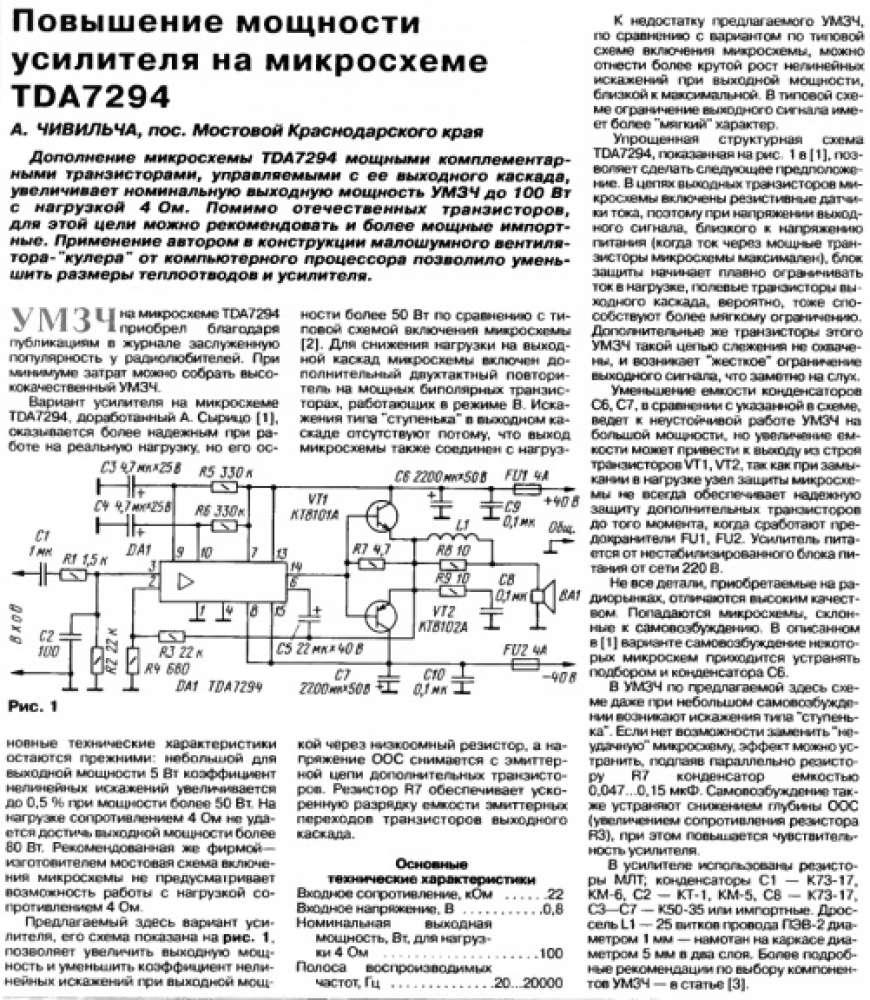 Технический форум - Показать сообщение отдельно - Усилитель на микросхеме TDA7294 + 2SC5200 & 2SA1943.