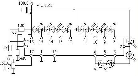 а что если сделать осциллограф на светодиодах? (если высокое качество не нужно) есть такая микросхема к1003пп1...