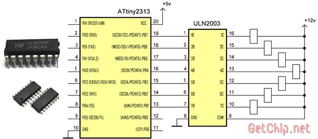 Подключение при помощи ULN2003.