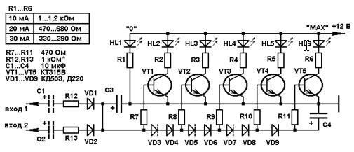 Светодиоды в этой схеме управляются ключами на транзисторах VT1...VT5.  Пороги срабатывания ключей задают диоды VD3.