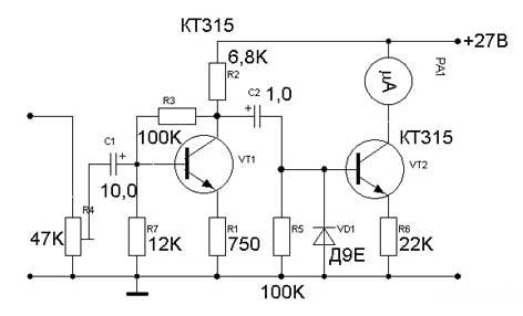 Вид аналоговых индикаторов в корпусе усилителя, с неоновой подсветкой.