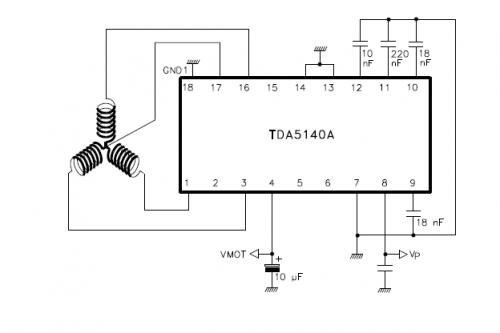 Схема, VMOT +12 a Vp +5, неуказанный конденсатор керамика на 1 мкФ. кто проверит первый отпишитесь о результатах...