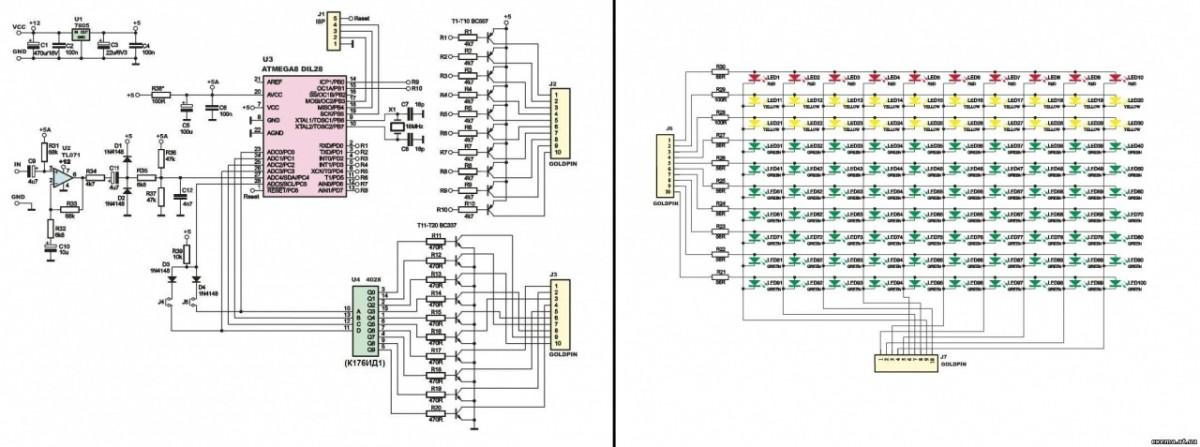 ...спектра на atmega8 10х10 LED в VU... вот ссылка: http://cxema.at.ua/p...pektra/1-1-0-34. вот схема анализатора. я...