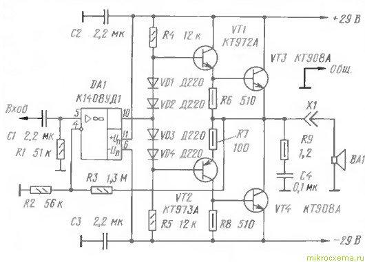 Предлагаем вниманию радиолюбителей простой и довольно мощныйтранзисторный УНЧ, который не требует наладки.