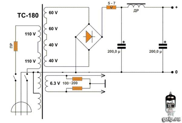 Схема блок питания в ламповом усилители