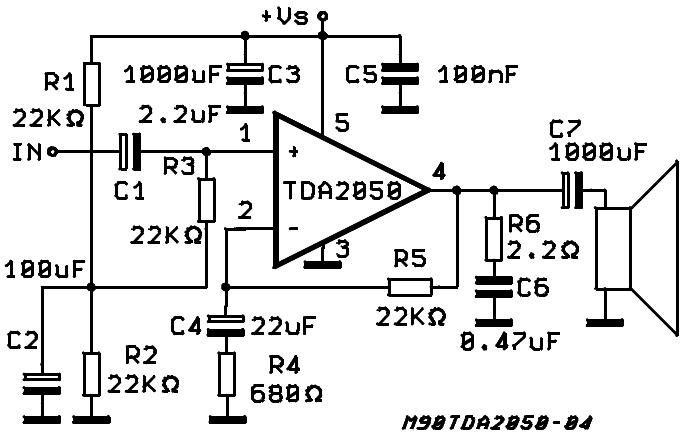 Основа усилка- микросхема усилитель класса Н TDA1560Q.  Т.е. до.  Ну вот- одна микруша да несколько других деталек.