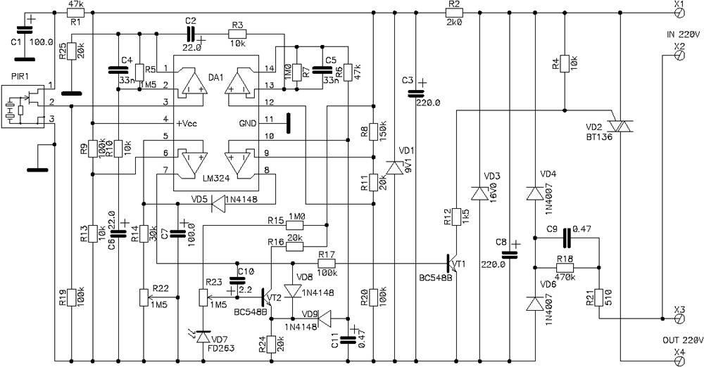 схема светового датчика .