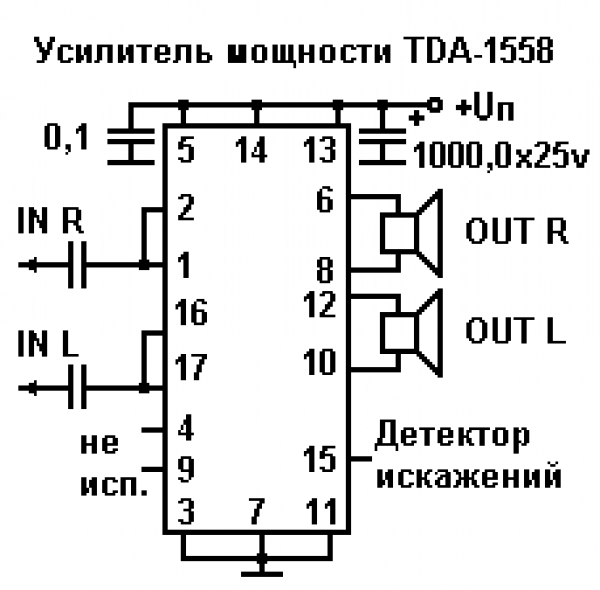 усилитель tda 1558 gtxfnyfz gknfnf - Уголок конструктора.