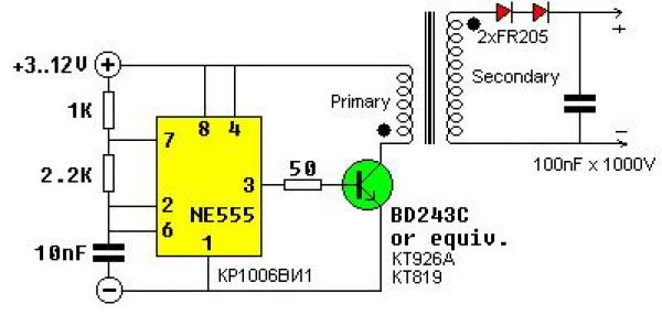 Схема строчника на 555